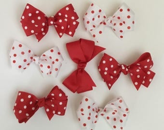 Girls Red and White Polka Dot Valentines Bows