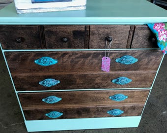 Antique Dresser - Aloha - Mint and Stained with Honey
