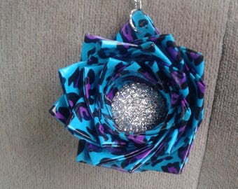Duck tape flower keychain