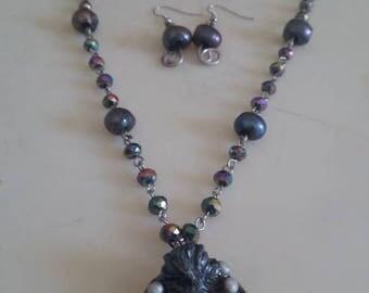 Black Pearl & Abalone Kraken necklace