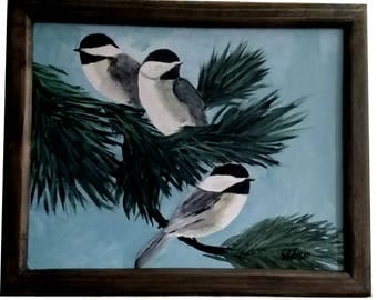 Three Chickadees with frame