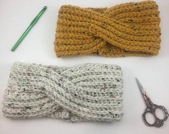 crochet headband, braided headband, earwarmer, crochet earwarmer, headband, chunky headband, chunky earwamer