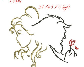 Beauty And The Beast Machine Embroidery Designs Outline Design In Hoop Digital Download Instant Pattern