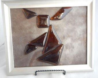 Fused Glass Tangram Puzzle- Amber Brown