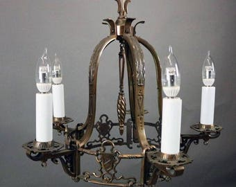 Gothic chandelier etsy antique arts crafts spanish revival storybook gothic moe bridges five aloadofball Gallery
