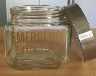 Emergency Snack Stash, Gift for Her, Christmas Gift, Gift for Coworker, Snack Jar, Candy Jar, White Elephant Gift