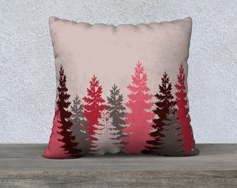 Burgundy Trees Pillow Covers