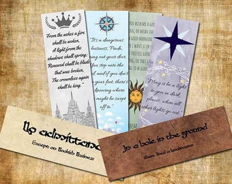 6 Printable Bookmarks // The Lord of the Rings // The Silmarillion // The Hobbit // JRR Tolkien