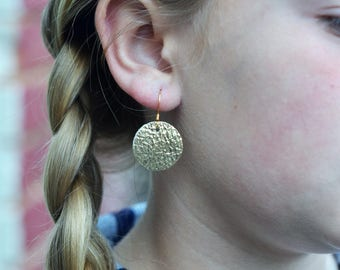 Metallic Gold Leather Earrings, Genuine Leather, and Lightweight for young girls and adults