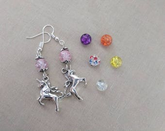 Silver Unicorn Earrings with Colored Bead Accent Pink Purple Yellow Clear Orange or Multicolor