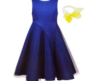 flower girl dress - BLUE , wedding junior bridesmaid , esater dress , first communion for children toddler kids + pearl bracelet