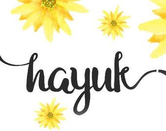 Calligraphy Font,  Swirly Font, Wedding Watercolor, Christmas font, Handwritten Script  Instant Download - Hayuk Script Font