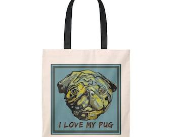 I Love My Pug Tote Bag  Vintage