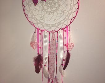 Bench crochet dream catcher and rose