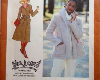 Simplicity 8745.  Misses wrap coat pattern.  Unlined wrap coat in two lengths. Vintage 1978 coat pattern.  Unlined jacket pattern.  Size 8.