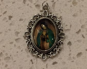 our lady of Guadalupe leather strap with your choice of birthstone