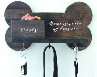 Key Hook | Dog Leash Holder | Home Is Where My Dog Is | Dog Leashes | Dog Mom | Dog Lover | 16 in x 9 in