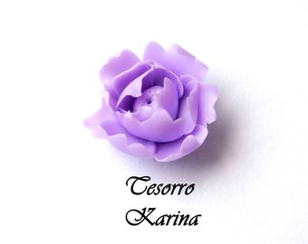 peony bead from polymer clay, flower beads for decorations, peony bead lilac, handmade flowers