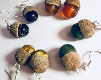 Acorn and crystal earrings
