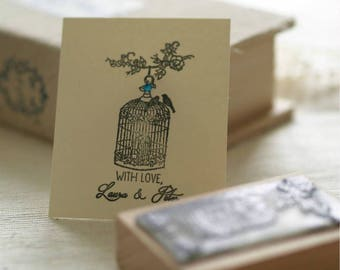 With Love Stamp with Bird Cage design, Perfect Wedding Stamp
