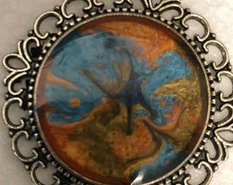 Fantasy pelbo paints in silver tone pendant