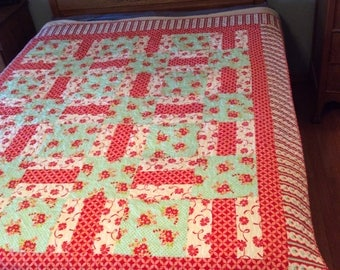 Full  or Lap Quilt Strawberry Fields