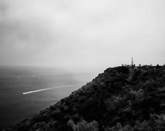 Black and White, Wall Art, Landscape Photo, Eerie, Scenic, California, Pacific Ocean, San Diego, Monochromatic, Pont Loma,