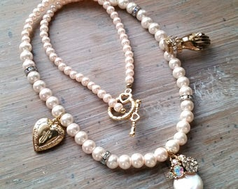 OOAK Pearl Necklace with Vintage Charms