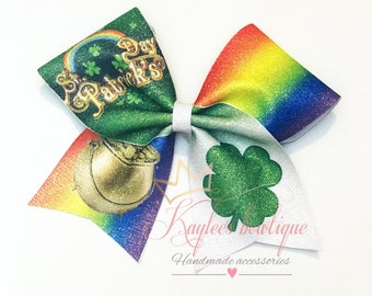 St. Patrick's day cheer bow - cheer bow -rainbow -sublimated-