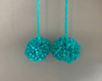 Sea Green Pom Earrings