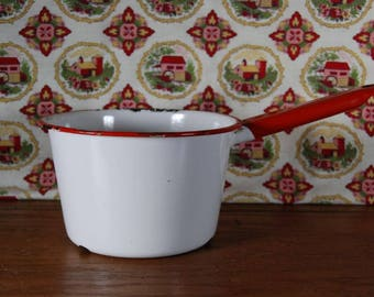 Red and White Enamel Pan