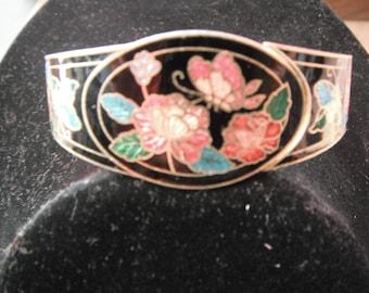 Vintage Enamel Floral Design Bracelet