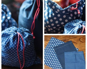 Plain bag with loose blue and white polka dots gift set of 3