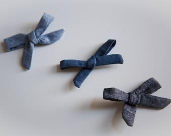 Skinny Mini and Skinny Medium Chambray Schoolgirl Bows on Headband or Clip