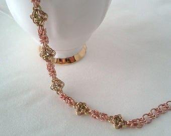 Copper and Brass Byzantine Chainmail Bracelet - Chainmaille Jewellery - Chainmaille Bracelet - Gift for Her - Ladies Bracelet - Byzantine