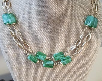 Vintage Multi-strand Green and Gold Necklace