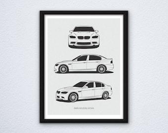 BMW M3 (E90) Framed Poster