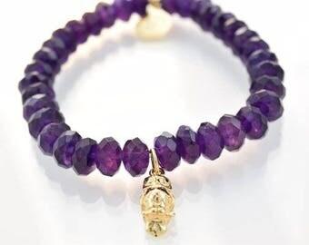 Gold Owl charm on Amethyst bracelet | Amethyst beads | Owl charm bracelet | Beaded bracelet | Gemstone jewellery