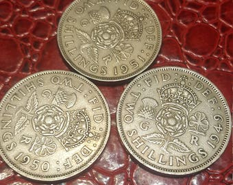 Set of 3-Great Britain florin two shillings 1949,50,51  George V silver