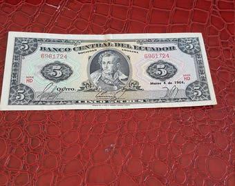 Banco Central del Ecuador  5 cinco 1964