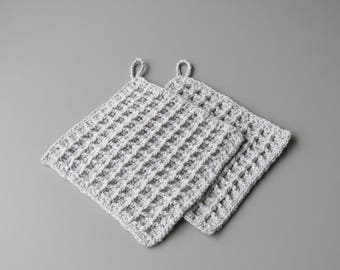 Crochet pot, Color grey (set of 2 pieces)