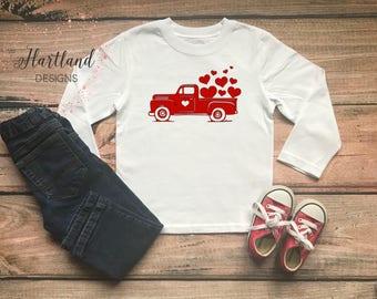Valentine Truck Tee- Toddler Valentines Day Shirt- Valentines Day Shirt- Toddler Boy Valentines Day Shirt- Boy Valentine Shirt