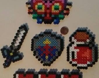 Pack of 5 beads from Legend of Zelda / bar life 8-bit, Potion, Master sword, shield and mask of Majora