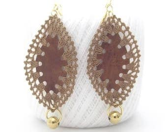 Leather Steel Crochet Earrings, Claps Stainless Steel, Genuine Leather, Cotton Thread, Sale Items, Best Selling, Gift For Women, Top Selling