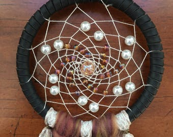 small dreamcatcher // bronze, pearl, and gold // handmade //
