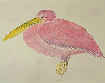 Pink Pelican, Original Print, Collagraph, Limited Edition.