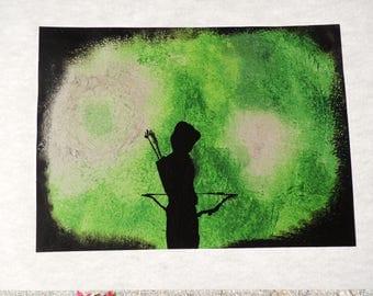 ARROW, TV series, painting, Bow, acrylic, black, green, gift idea, birthday gift, 33 x 48, sheet, acrylic, acrylic color, paintbrush