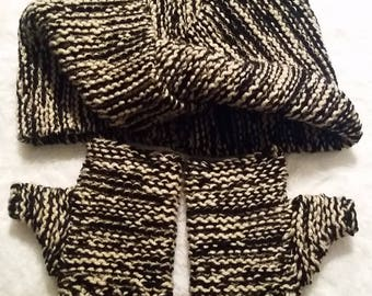 Double Wrap Infinity Scarf and Fingerless Gloves Set