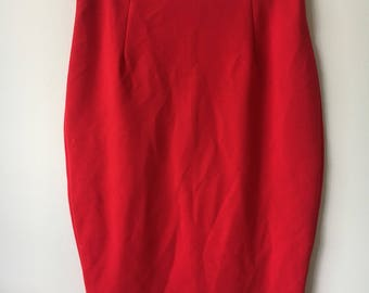 Red Knee Length Fitted Skirt