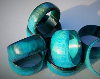 Salvaged Cow Horn Bangle - Aqua